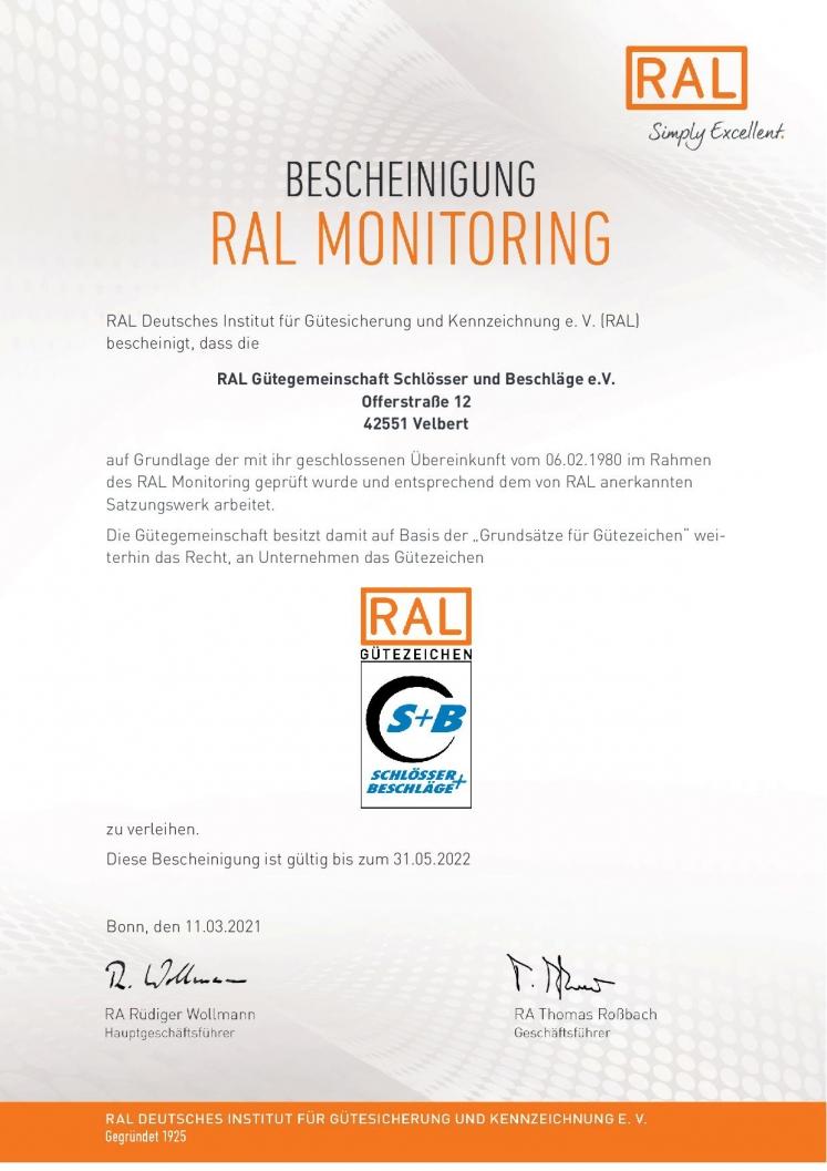 Bescheinigung RAL GG Schlösser und Beschläge